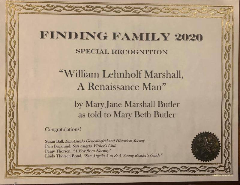 Mom's story certificate